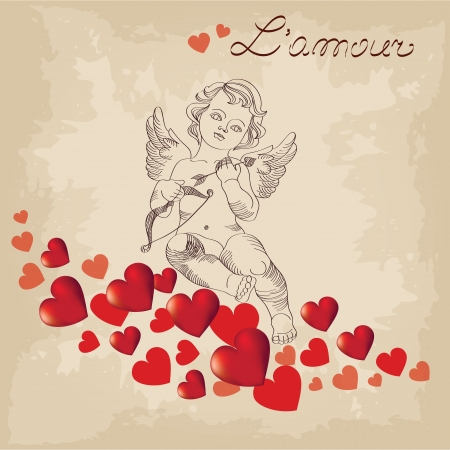 Valentines Day, cute cupid Vector