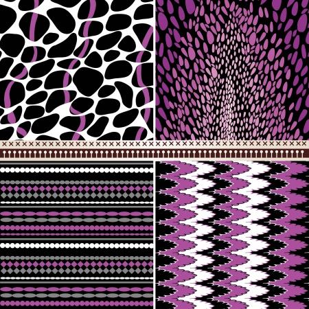 4 geometric patterns set