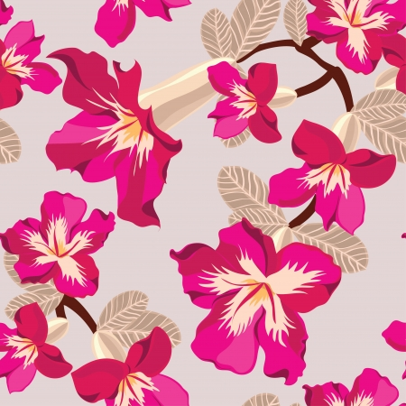 Floral seamless pattern with pink flowers, hand-drawing illustration  Stock Vector - 17691515