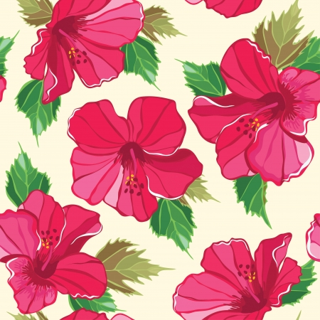 Floral seamless pattern with hibiscus, hand-drawing. illustration. Stock Vector - 17691550