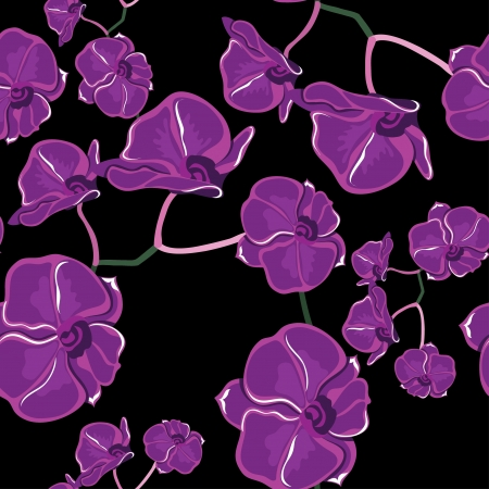 Floral seamless pattern with orchids, hand-drawing. illustration. Vector