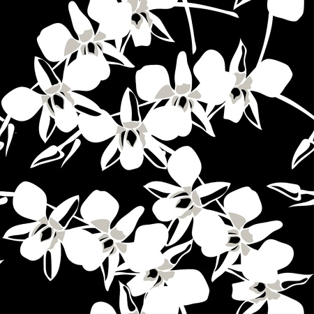 Seamless wallpaper pattern with orchid on black background,  illustration. Vector