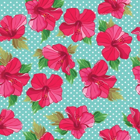 Seamless floral pattern with hibiscus,  illustration. Vector