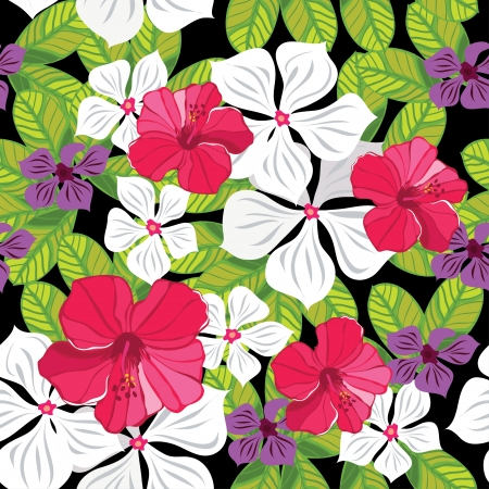 Floral seamless pattern with hibiscus  illustration. Vector
