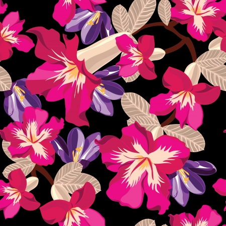 Floral seamless pattern with beautiful flowers illustration. Stock Vector - 18528108