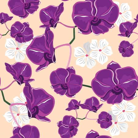 Floral seamless pattern with orchids,   illustration. Vector