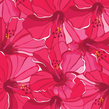 Floral pattern with hibiscus  illustration. Vector
