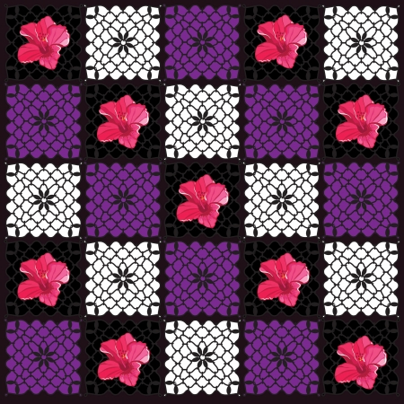 Floral pattern with hibiscus Geometric illustration. Vector