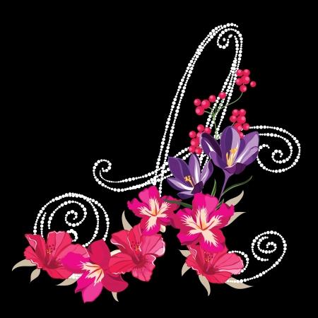 english rose:  flower alphabet ,flower font Illustration