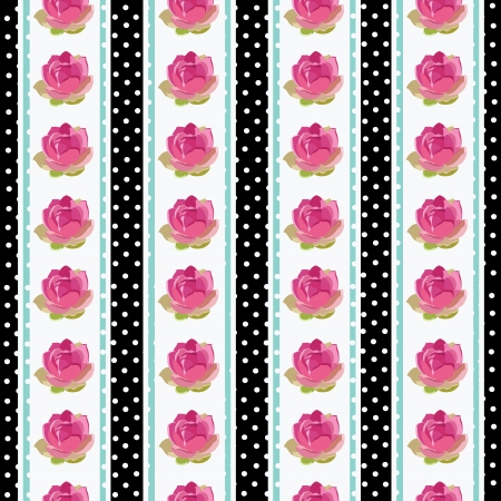 Seamless wallpaper pattern with flowers on black background,  illustration