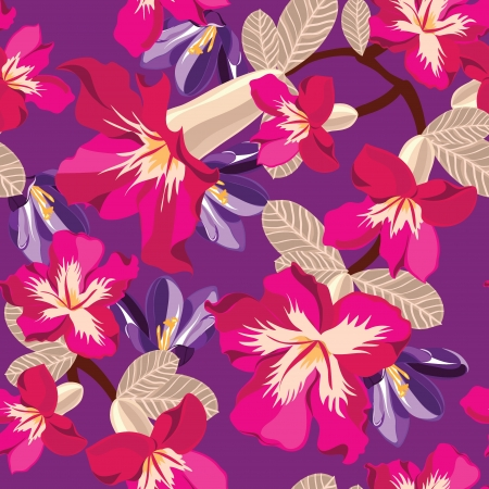 Floral seamless pattern with hibiscus, hand-drawing. Vector illustration. Vector