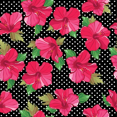 textile image: Floral seamless pattern with hibiscus, hand-drawing. Vector illustration. Illustration