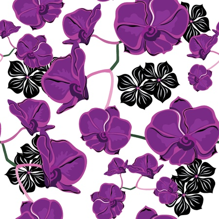 Floral seamless pattern with orchids, hand-drawing. Vector illustration. Vector