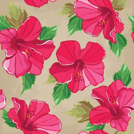 aloha: Floral nahtlose Muster mit Hibiskus-, Hand-Zeichnung. Vektor-Illustration.