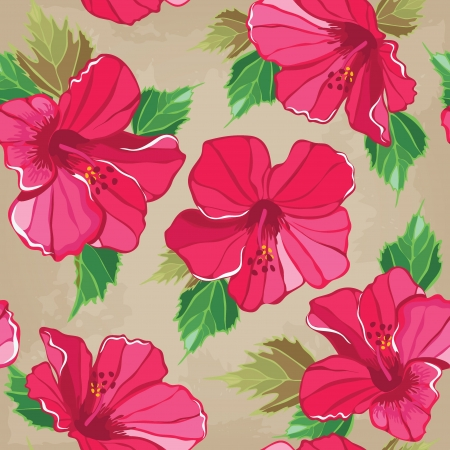 aloha: Floral seamless pattern with hibiscus, hand-drawing. Vector illustration. Illustration