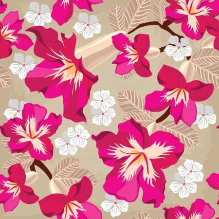 Floral seamless pattern with hibiscus, hand-drawing. Vector illustration. Stock Vector - 18564148