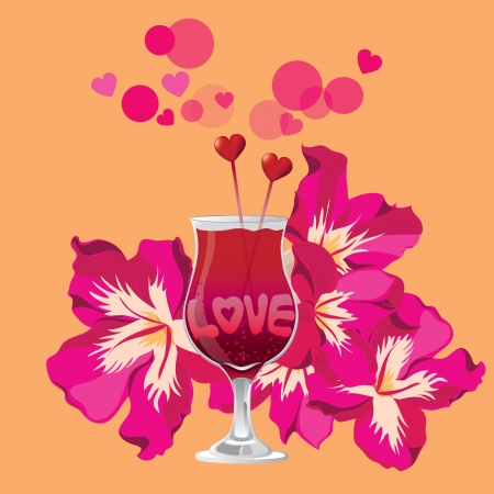 Tropical Love cocktail Stock Vector - 18564143