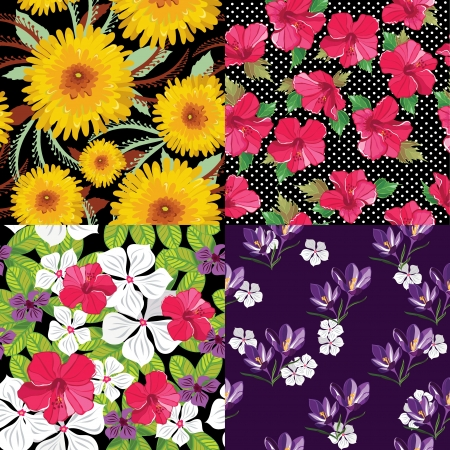 Floral set, seamless patterns, hand-drawing  Vector illustration  Vector