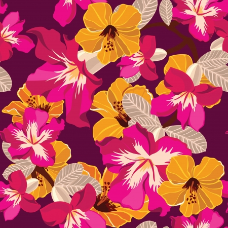 flower pattern: Floral seamless pattern with beautiful flowers, hand-drawing. Vector illustration. Illustration