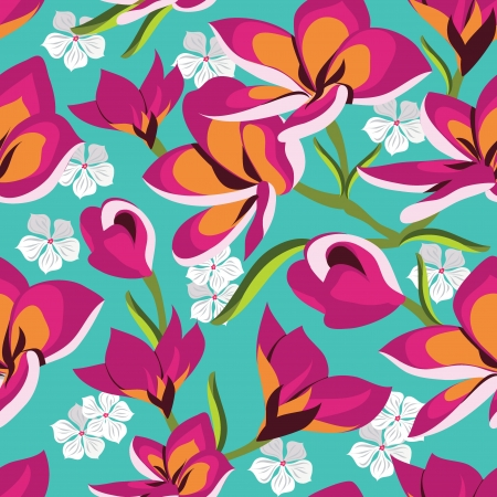floral print: Floral seamless pattern with beautiful flowers, hand-drawing. Vector illustration. Illustration