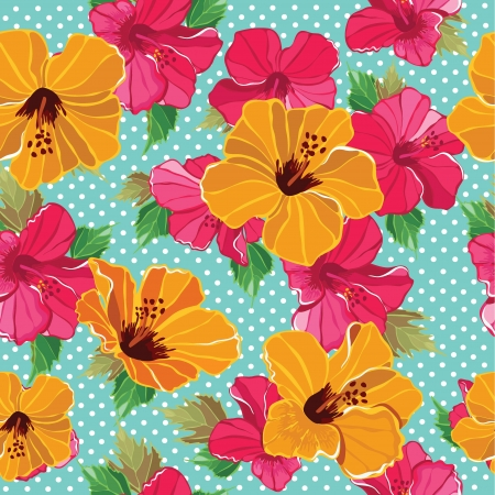 熱帯: 美しいとシームレスな花柄の花、手描き。ベクトル イラスト。