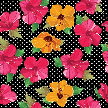 hawaii flower: Floral seamless pattern with beautiful flowers, hand-drawing. Vector illustration. Illustration