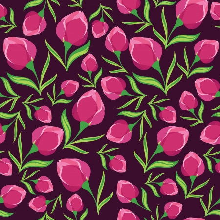 Floral seamless pattern with beautiful flowers, hand-drawing  Vector illustration  Vector