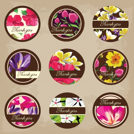 Cute tags set, flowers ornaments Vector
