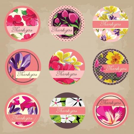 Cute tags set, flowers ornaments Illustration