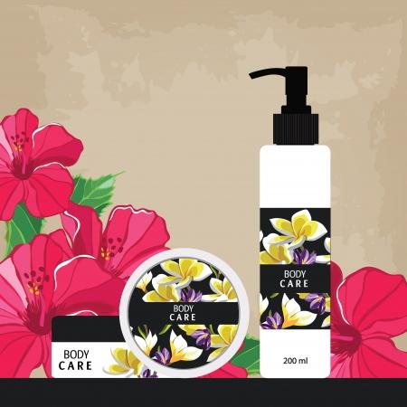 champu: Botellas cosméticas con etiquetas de colores para cuidados de belleza