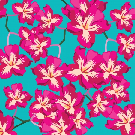 hawaii flower: Floral pattern with beautiful flowers, hand-drawing. Vector illustration.