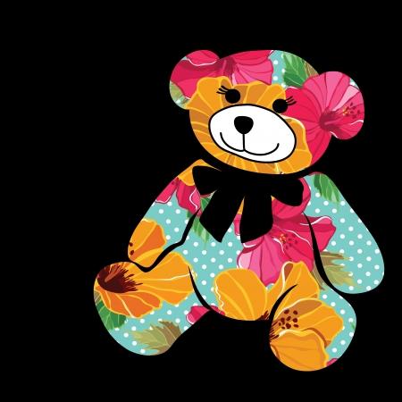 oso caricatura: Oso de la historieta. La silueta del elefante obtiene de diseño de flores.