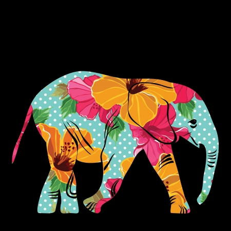 Cartoon elephant. The silhouette of the elephant collected from flower pattern. Vector
