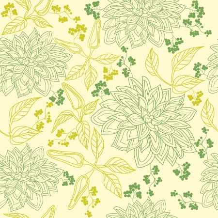 Vector floral seamless pattern with hand drawn flowers  Vector