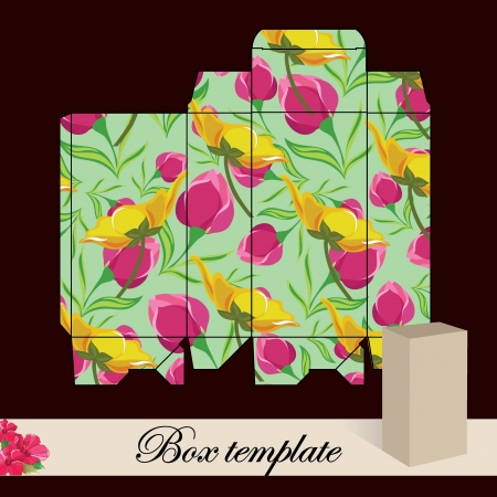 Gift box template Print  Cut along solid outer border with scissors Fold back on dashed lines to form your favor box  Use adhesive to secure side and bottom flap Stock Vector - 19784786