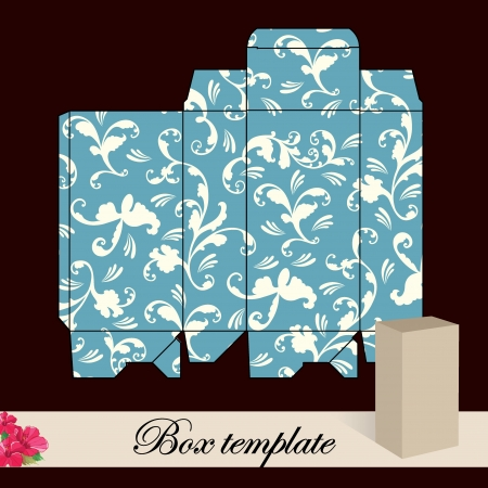 box template: Gift box template Print  Cut along solid outer border with scissors Fold back on dashed lines to form your favor box  Use adhesive to secure side and bottom flap  Illustration