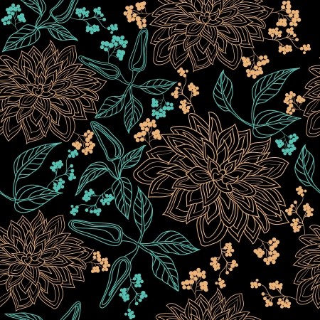 Vector floral seamless pattern with hand drawn flowers  Illustration
