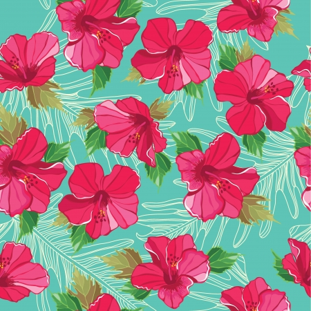 hibiscus flower: Seamless floral pattern, hand-drawing. Vector illustration.