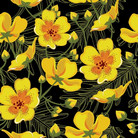 hawaii flower: Seamless floral pattern, hand-drawing. Vector illustration.