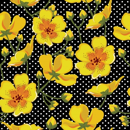 Seamless pattern floreale, disegno a mano. Illustrazione di vettore.