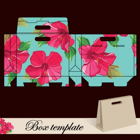 side border: Gift box template Print  Cut along solid outer border with scissors Fold back on dashed lines to form your favor box  Use adhesive to secure side and bottom flap  Illustration