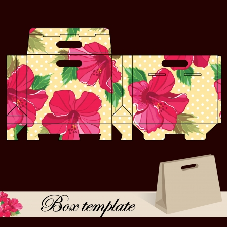 die cut: Gift box template Print  Cut along solid outer border with scissors Fold back on dashed lines to form your favor box  Use adhesive to secure side and bottom flap  Illustration