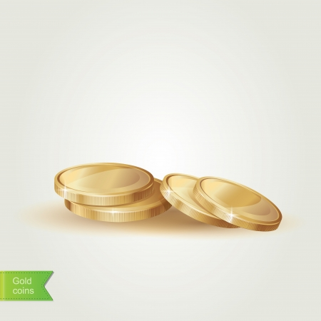 coin stack: Golden coins isolated.Vector illustration.