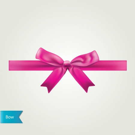 silk ribbon: Glamour pink bow isolated. Vector illustration.