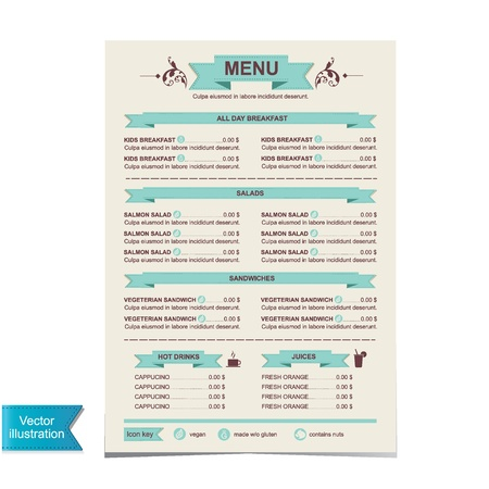 menu vintage: Cafe menu, template design illustration
