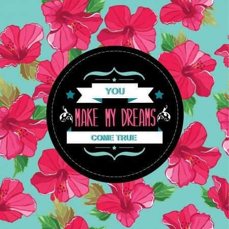 Floral affiche Typographie illustration Banque d'images - 20196579