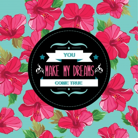 Floral poster Typography illustration  Vector