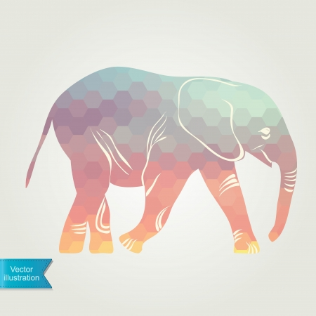 The silhouette of the elephant collected from geometric pattern  Vector