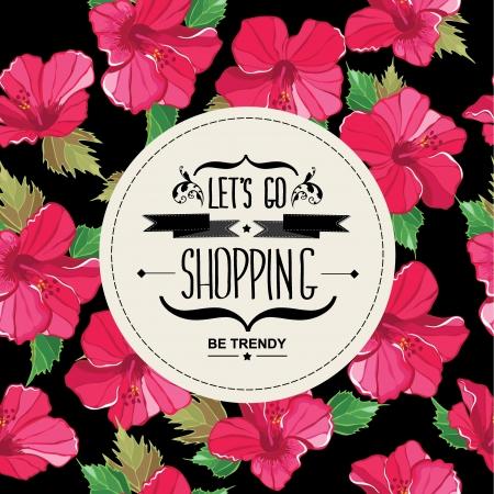 go shopping: Poster Lets go shopping. Typography illustration.
