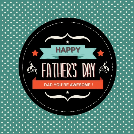 Poster Happy father s day Typography illustration  向量圖像